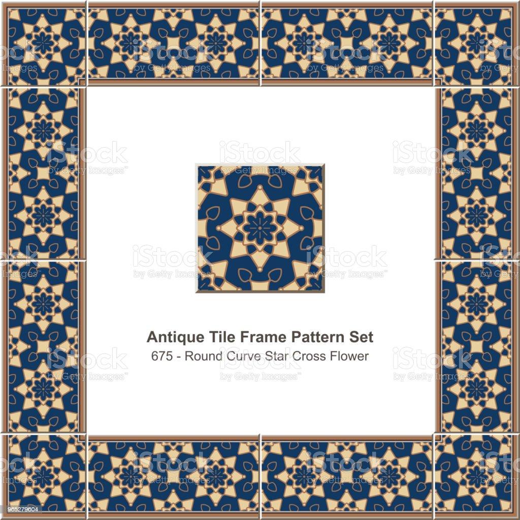 Antique tile frame pattern set round curve star cross flower gold outline antique tile frame pattern set round curve star cross flower gold outline - stockowe grafiki wektorowe i więcej obrazów antyczny royalty-free