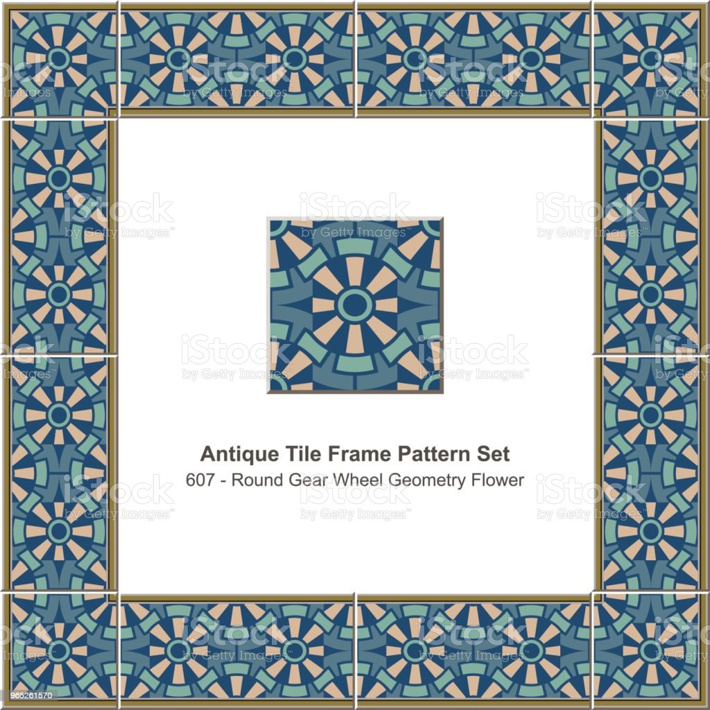 Antique tile frame pattern set round gear wheel geometry flower royalty-free antique tile frame pattern set round gear wheel geometry flower stock vector art & more images of antique