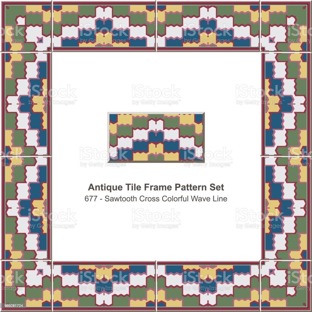 Antique tile frame pattern set sawtooth cross colorful geometry wave line antique tile frame pattern set sawtooth cross colorful geometry wave line - stockowe grafiki wektorowe i więcej obrazów antyczny royalty-free