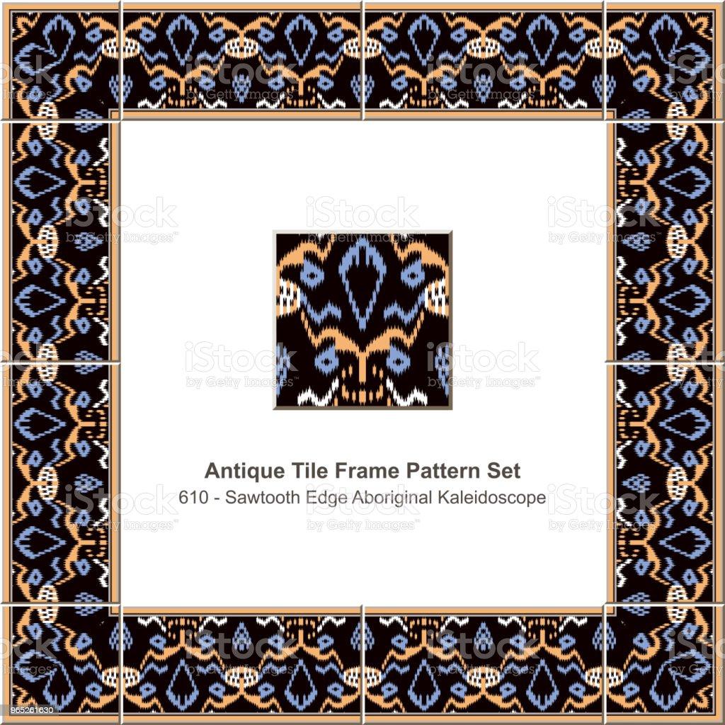 Antique tile frame pattern set sawtooth edge aboriginal cross kaleidoscope royalty-free antique tile frame pattern set sawtooth edge aboriginal cross kaleidoscope stock vector art & more images of antique