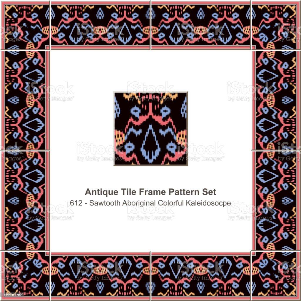 Antique tile frame pattern set sawtooth edge aboriginal cross colorful kaleidoscope antique tile frame pattern set sawtooth edge aboriginal cross colorful kaleidoscope - stockowe grafiki wektorowe i więcej obrazów antyczny royalty-free