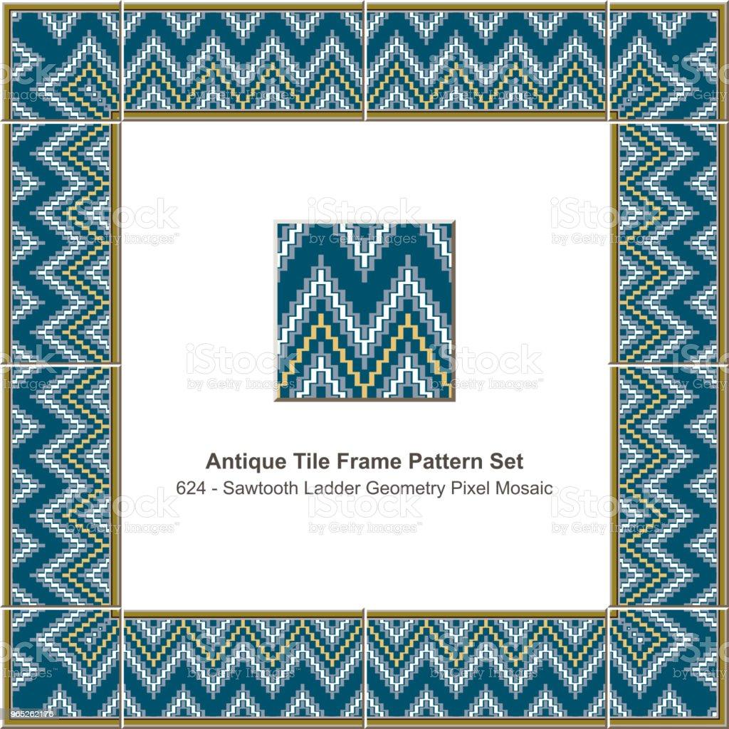 Antique tile frame pattern set sawtooth ladder geometry pixel mosaic antique tile frame pattern set sawtooth ladder geometry pixel mosaic - stockowe grafiki wektorowe i więcej obrazów antyczny royalty-free
