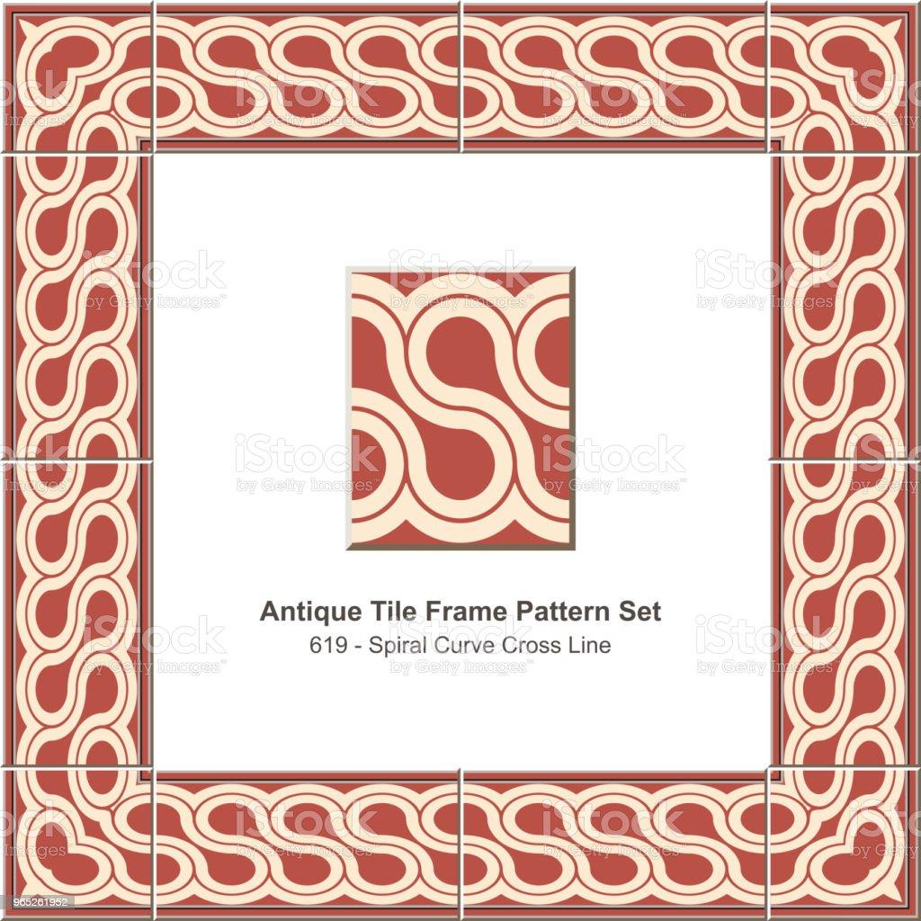 Antique tile frame pattern set spiral curve cross line antique tile frame pattern set spiral curve cross line - stockowe grafiki wektorowe i więcej obrazów antyczny royalty-free