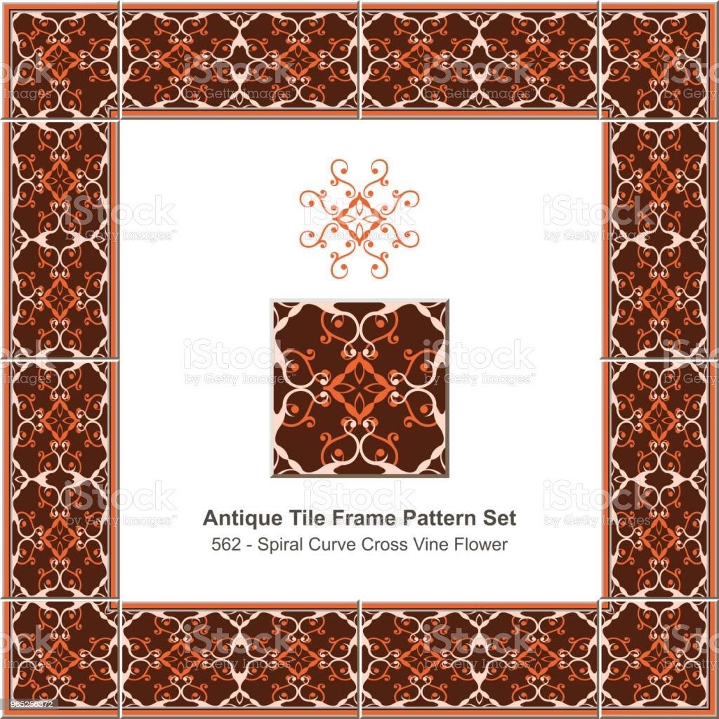 Antique tile frame pattern set spiral curve cross vine flower kaleidoscope antique tile frame pattern set spiral curve cross vine flower kaleidoscope - stockowe grafiki wektorowe i więcej obrazów antyczny royalty-free