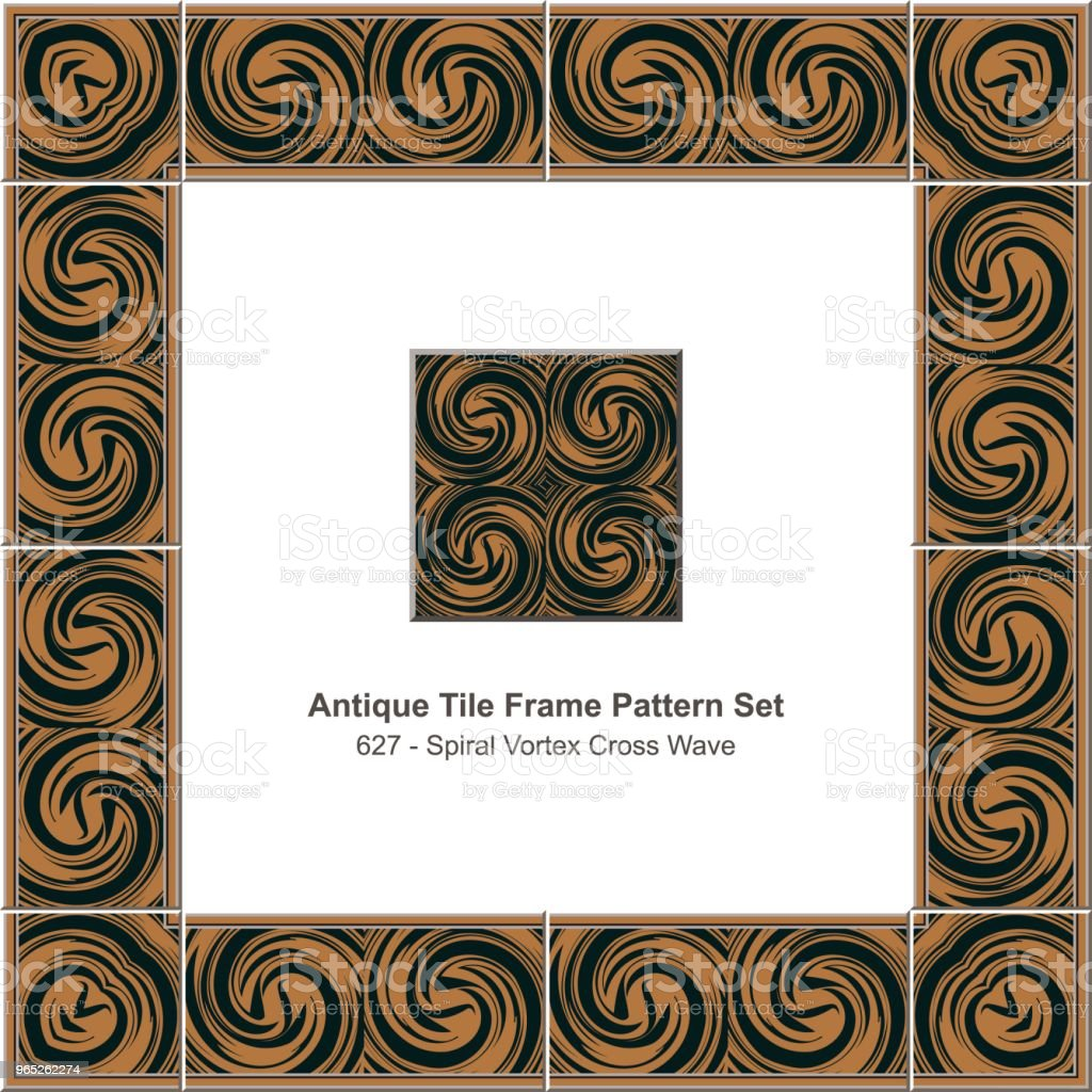 Antique tile frame pattern set spiral vortex cross wave antique tile frame pattern set spiral vortex cross wave - stockowe grafiki wektorowe i więcej obrazów antyczny royalty-free