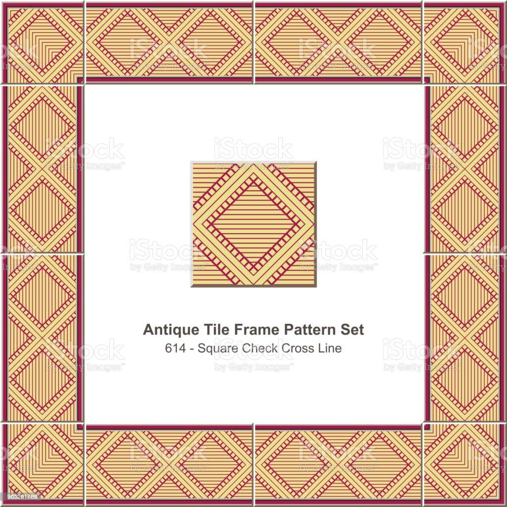 Antique tile frame pattern set square check cross geometry line royalty-free antique tile frame pattern set square check cross geometry line stock vector art & more images of antique