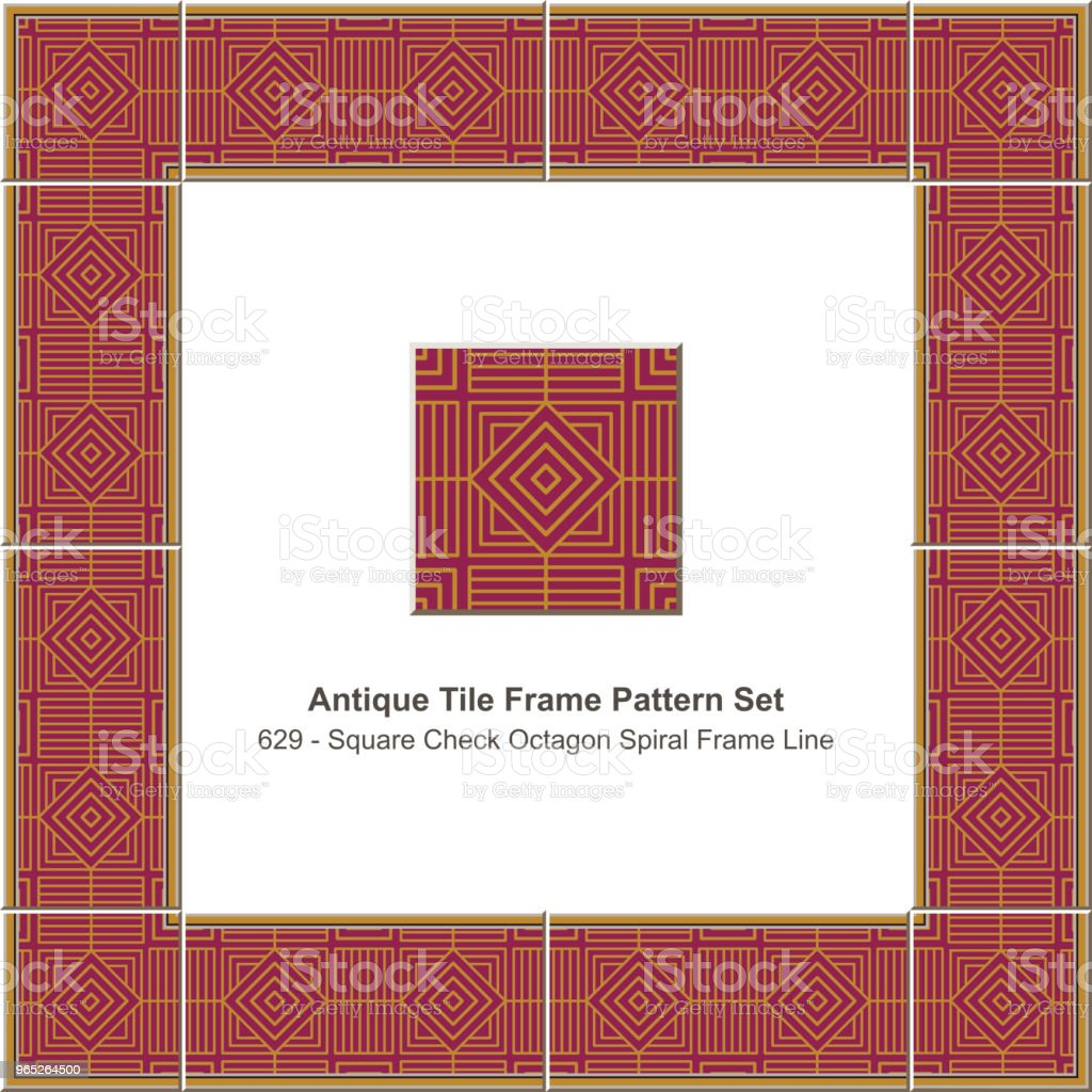 Antique tile frame pattern set square check spiral geometry lattice line antique tile frame pattern set square check spiral geometry lattice line - stockowe grafiki wektorowe i więcej obrazów antyczny royalty-free