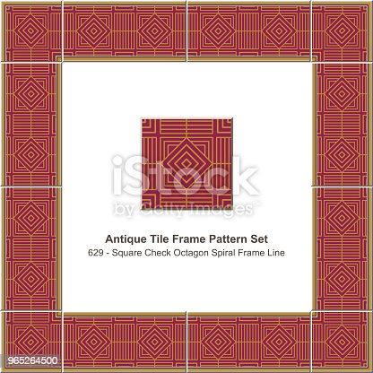 Antique Tile Frame Pattern Set Square Check Spiral Geometry Lattice Line Stock Vector Art & More Images of Antique 965264500