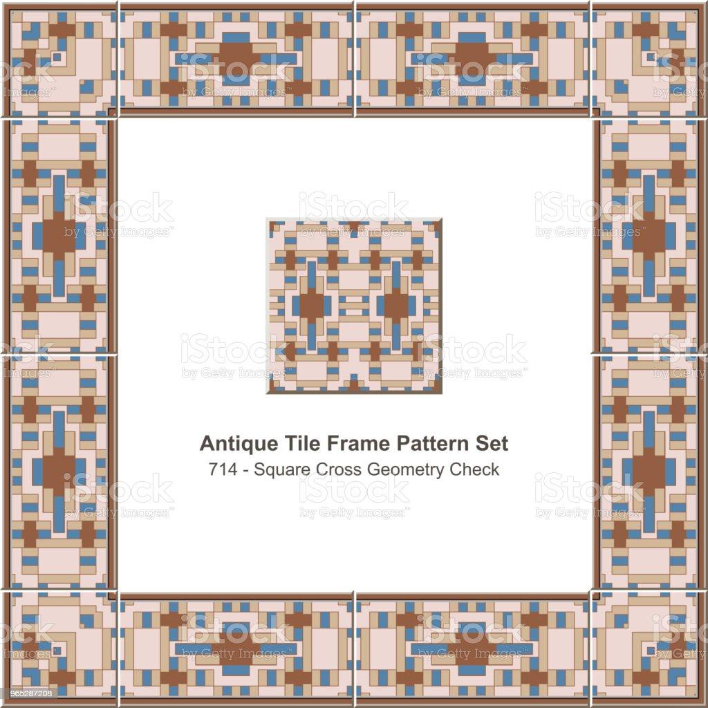 Antique tile frame pattern set square cross geometry check royalty-free antique tile frame pattern set square cross geometry check stock vector art & more images of antique