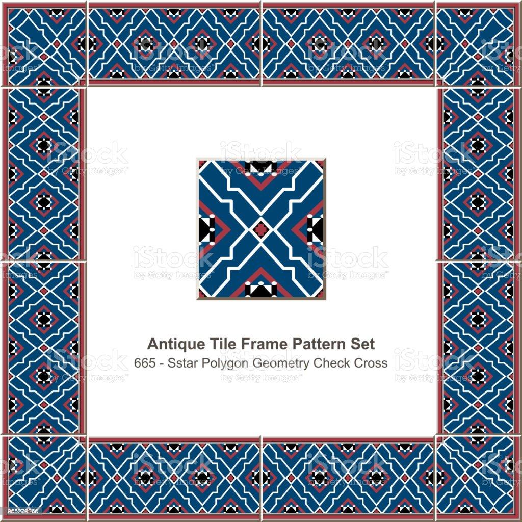 Antique tile frame pattern set star polygon geometry check cross line royalty-free antique tile frame pattern set star polygon geometry check cross line stock illustration - download image now