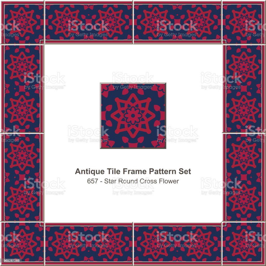 Antique tile frame pattern set star round cross flower royalty-free antique tile frame pattern set star round cross flower stock vector art & more images of antique
