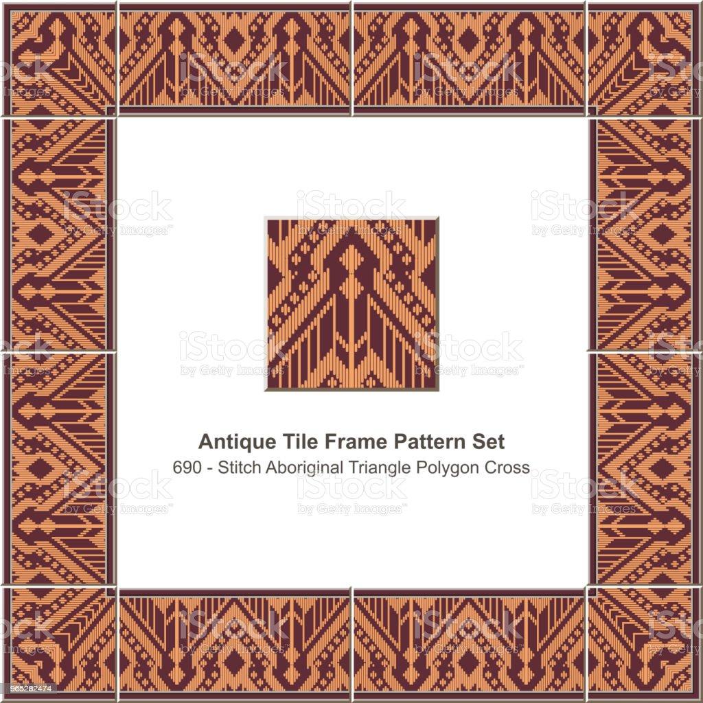 Antique tile frame pattern set stitch aboriginal triangle polygon cross geometry antique tile frame pattern set stitch aboriginal triangle polygon cross geometry - stockowe grafiki wektorowe i więcej obrazów antyczny royalty-free