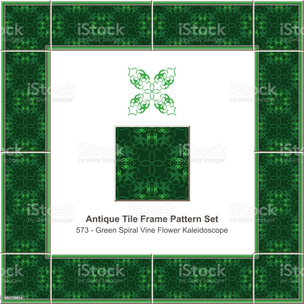 Antique tile frame pattern set vintage green spiral cross vine flower kaleidoscope royalty-free antique tile frame pattern set vintage green spiral cross vine flower kaleidoscope stock vector art & more images of antique