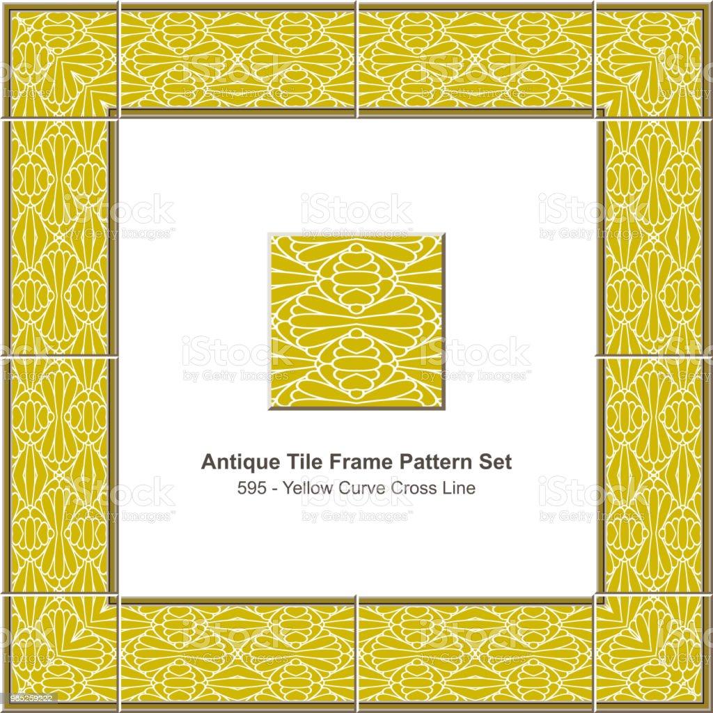 Antique tile frame pattern set yellow curve cross geometry line antique tile frame pattern set yellow curve cross geometry line - stockowe grafiki wektorowe i więcej obrazów antyczny royalty-free
