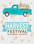istock Antique Truck With Pumpkins And Harvest festival Sign 1269723735
