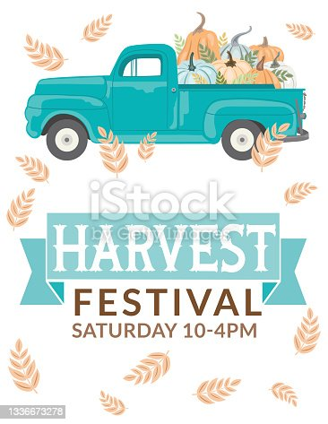 istock Antique Truck With Pumpkins And Harvest festival Sign 1336673278