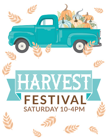 Antique Truck With Pumpkins And Harvest festival Sign