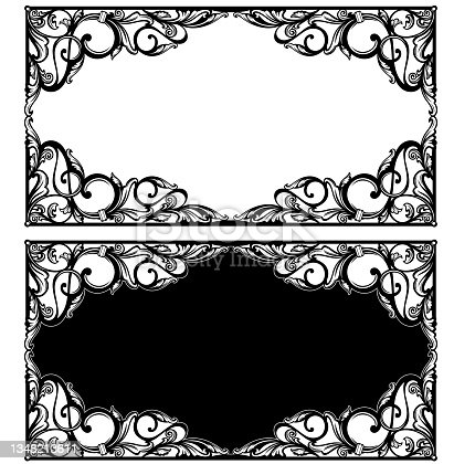 istock antique vector flourish elements forming black and white vintage frame design 1348213611