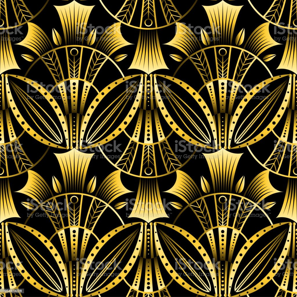 Padrão de ouro art déco do vetor antigo shell sem emenda. Geométrico fundo ondulado de fã de lótus de ouro. - ilustração de arte em vetor