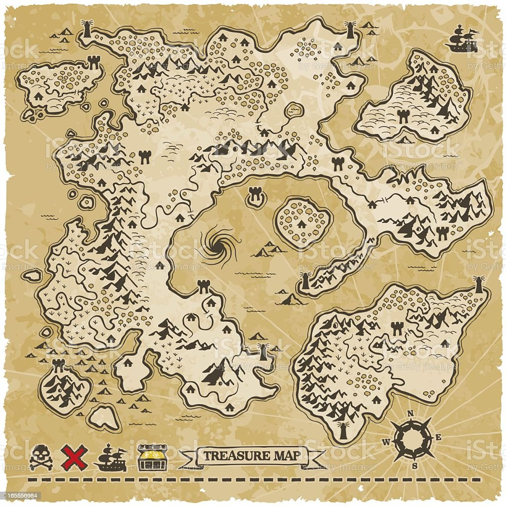 Antique Vector Treasure Map vector art illustration