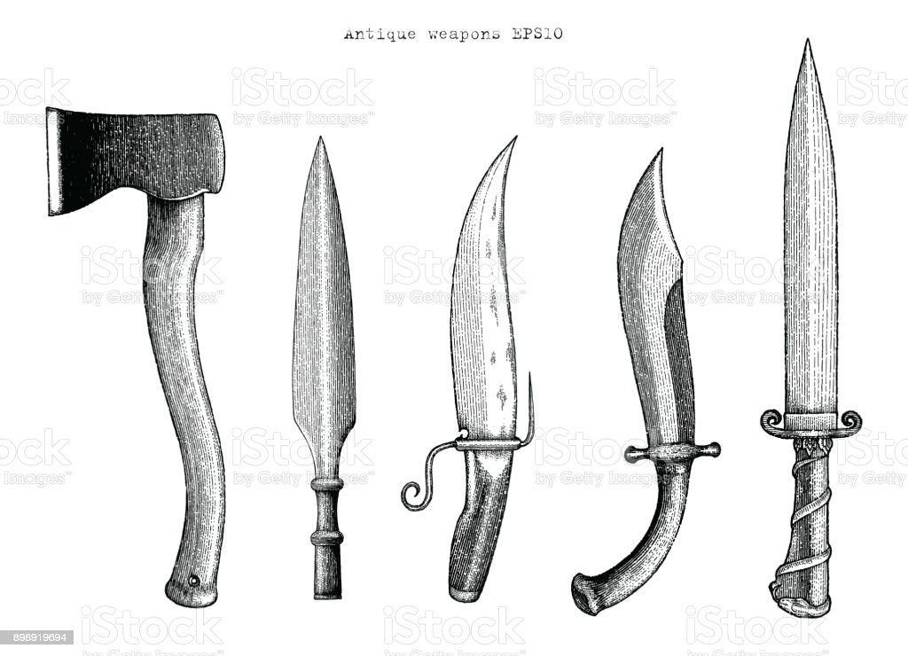 Antique weapons hand drawing engraving illustration vector art illustration