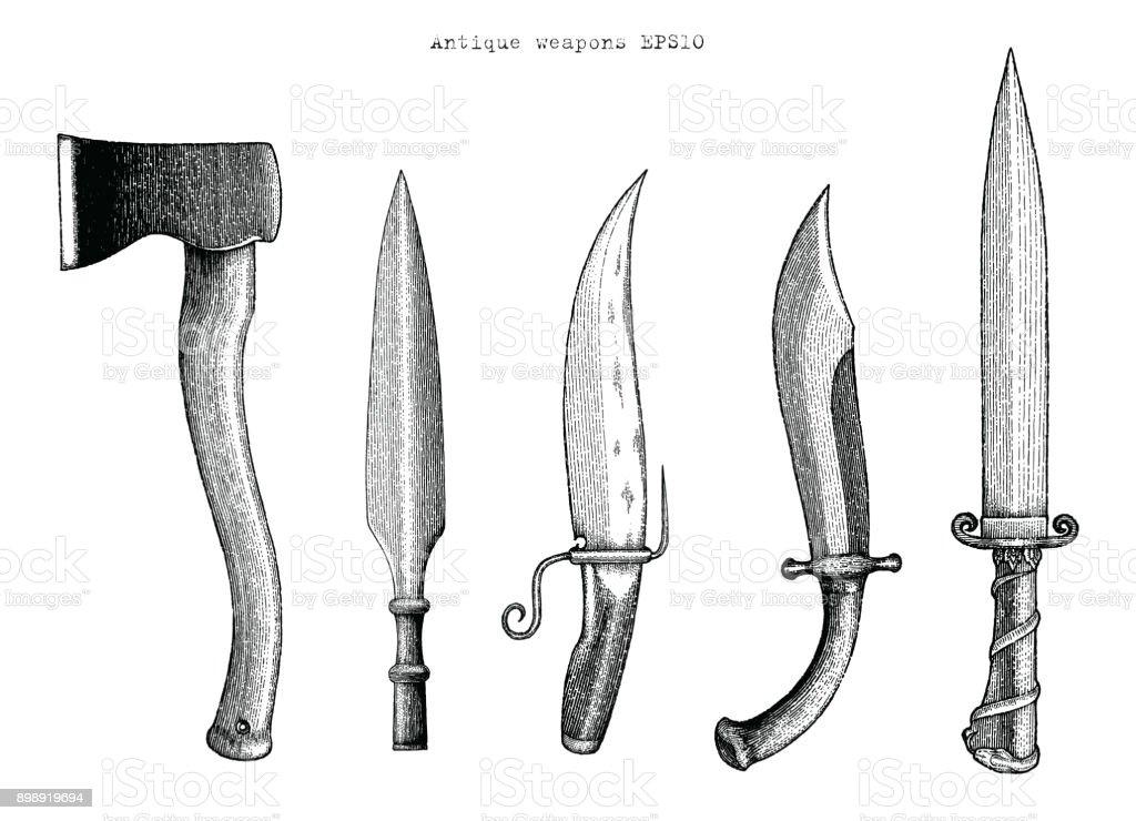Dibujo ilustración de grabado de la mano de armas antiguas - ilustración de arte vectorial