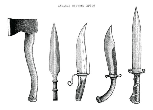 antique weapons hand drawing engraving illustration - swords tattoos stock illustrations, clip art, cartoons, & icons