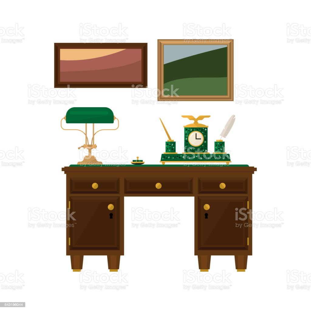 Escritorio Oficina Madera.Ilustracion De Escritorio De Oficina En Casa De Madera Antiguo Y Mas