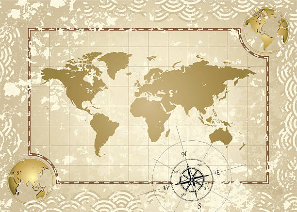 antique world map - treasure map backgrounds stock illustrations