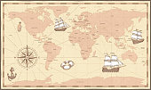 Antique world map. Vintage compass and retro ship on ancient marine map. Old countries boundaries earth geography antiques navigation cartography west coast and north america vector illustration