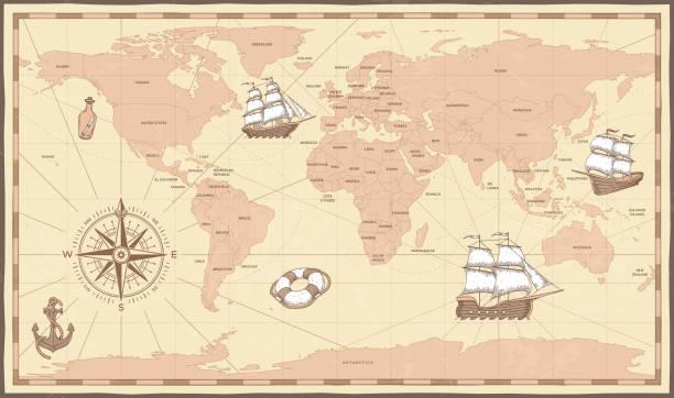 ilustraciones, imágenes clip art, dibujos animados e iconos de stock de mapa del mundo antiguo. brújula vintage y retra nave antiguo mapa marina. límites de los viejos países vector ilustración - mapas vintage
