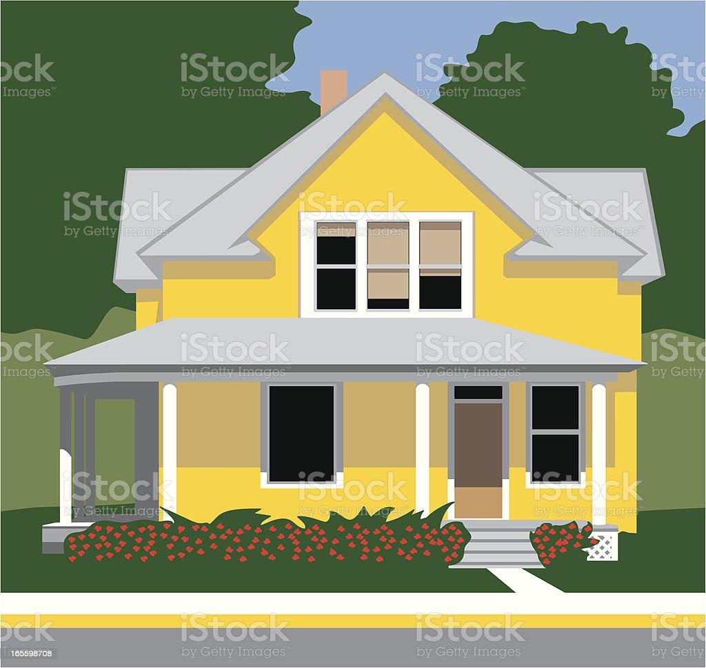 Antiga casa amarela ilustração de antiga casa amarela e mais banco de imagens de amarelo royalty-free