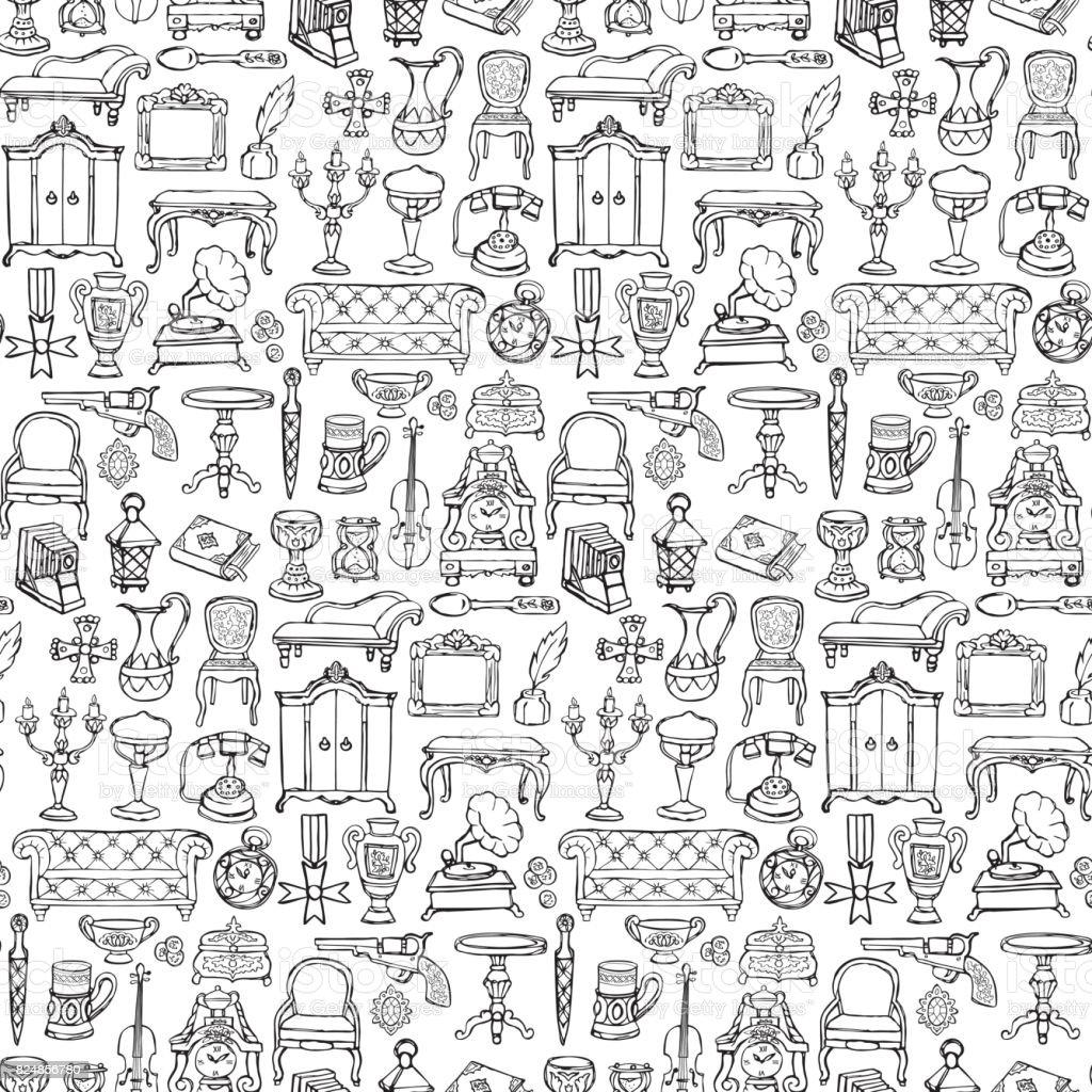 Antiquités Doodle Seamless Pattern - Illustration vectorielle