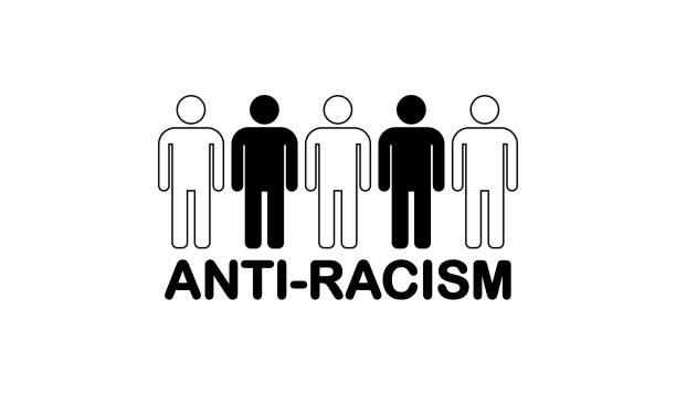 ilustraciones, imágenes clip art, dibujos animados e iconos de stock de icono plano antirracismo sobre fondo blanco - civil rights