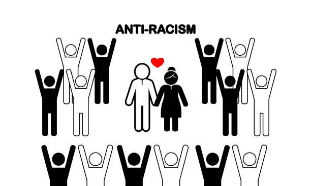 ilustraciones, imágenes clip art, dibujos animados e iconos de stock de anti-racismo novia de boda y novio icono plano sobre fondo blanco - civil rights