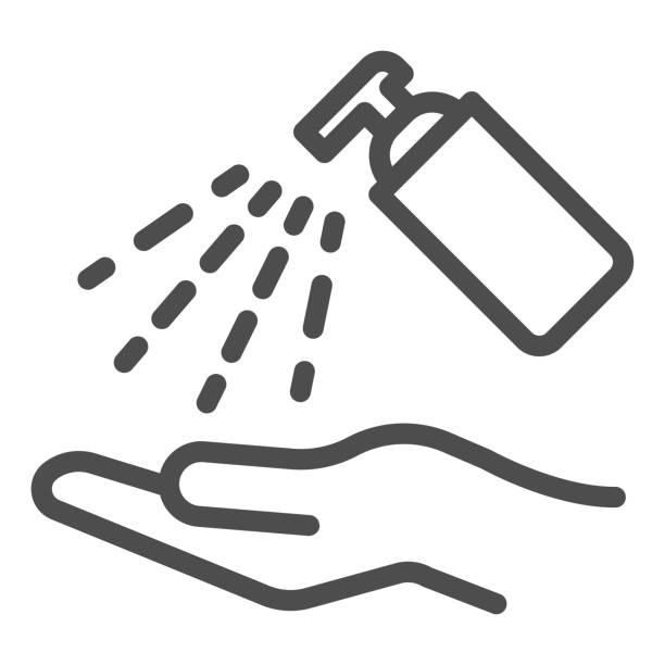 防腐劑酒精噴霧線圖示。清潔手與衛生凝膠輪廓風格象形圖在白色背景。消毒以防止 covid-19 用於行動概念和網頁設計。向量圖形。 - 疫病預防 幅插畫檔、美工圖案、卡通及圖標