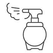 Antiseptic alcohol spray thin line icon. Hygienic gel outline style pictogram on white background. Prevention against virus, germs and infection for mobile concept and web design. Vector graphics