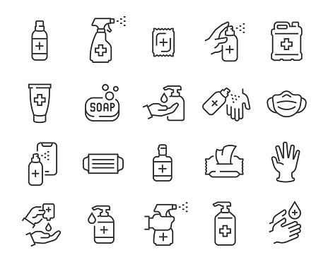 Antiseptics and Antivirus Protection Icon Set. Collection of linear simple web icons such as Anti-Virus Protection, Disposable Gloves and Masks, Soap, Wet Antibacterial Wipes, Antiseptic, Hand and Object Disinfection and others.
