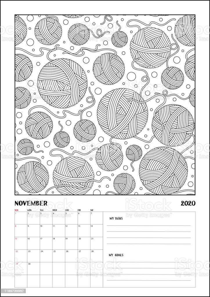 - 2020 Antisterss Calendar Planner Doodle Coloring Book Stock Illustration -  Download Image Now - IStock
