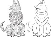 Antistress coloring page with dog.
