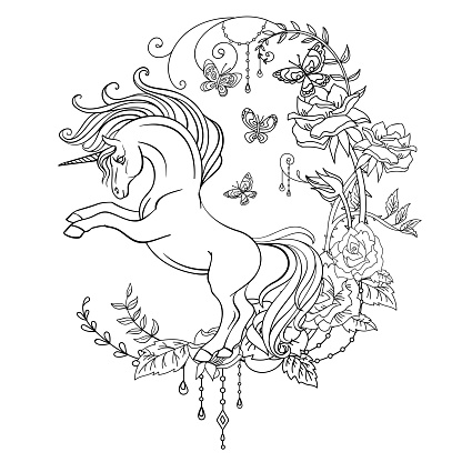 Antistress coloring unicorn with flowers vector illustration