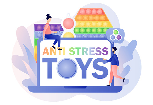 Antistress toys - text on laptop screen. Pop it and Simple dimple. Trendy fidget sensory. Tiny people play hand colorful toy with push bubbles. Modern flat cartoon style. Vector illustration