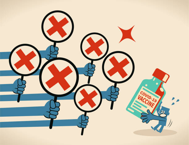 Anti-vaccination concept, a blue man carrying a big covid-19 vaccine bottle gets rejected (many hands showing the letter X red cross sign) vector art illustration