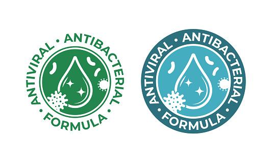 Antiviral antibacterial coronavirus formula vector icons. Coronavirus 2019 nCov, Covid 19 NCP virus protection, clean health safe labels