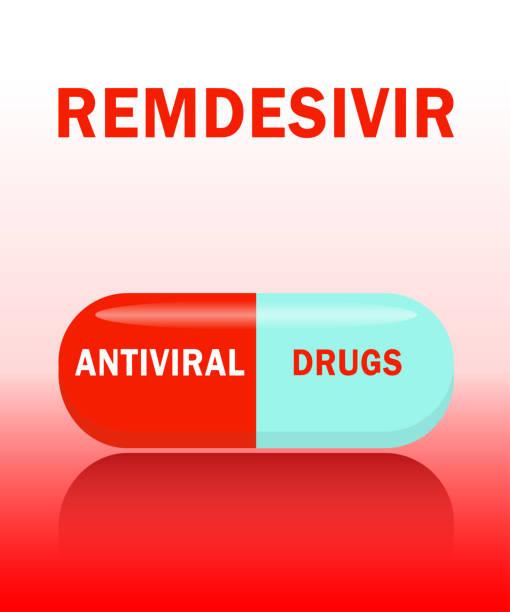 ilustraciones, imágenes clip art, dibujos animados e iconos de stock de cápsula antiviral remdesivir, concepto para el tratamiento de diferentes tipos de virus - remdesivir