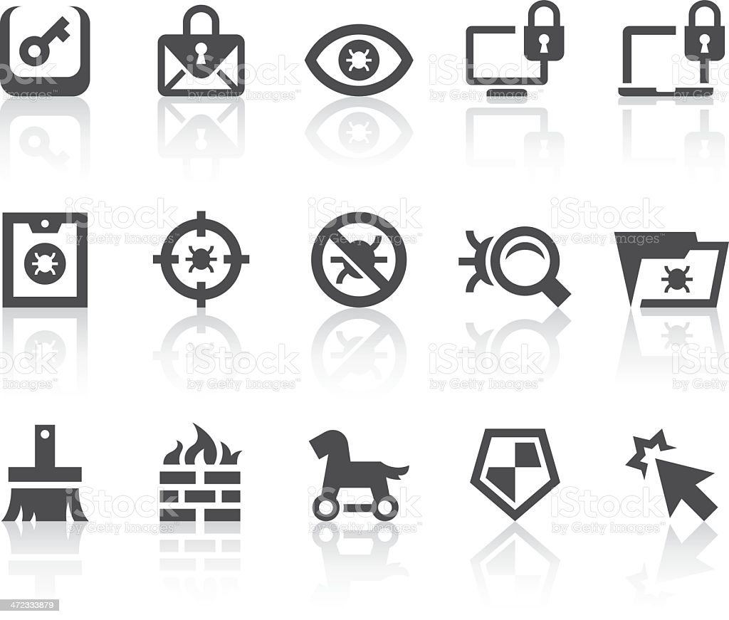 Antivirus Icons   Simple Black Series royalty-free stock vector art