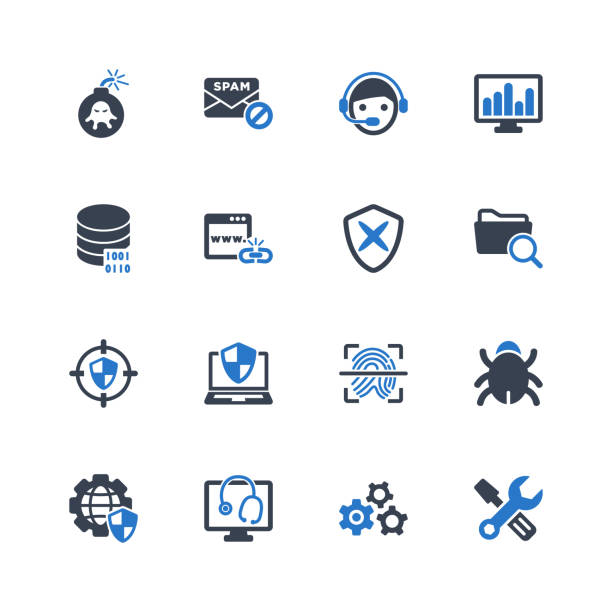 Antivirus & Internet Security Icons Antivirus & Internet Security Icons - Blue Series - Set 6 computer virus stock illustrations