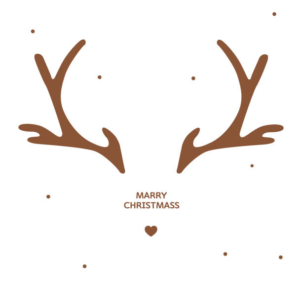 antler christmas card template - reindeer stock illustrations