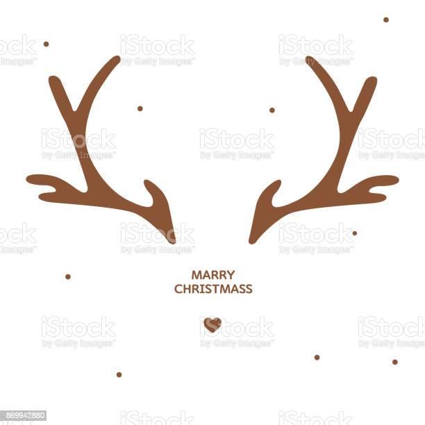 Geweih Weihnachtskarte Vorlage Stock Vektor Art und mehr Bilder von Bock - Männliches Tier