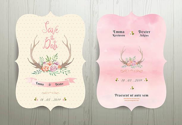 antler flowers rustic wedding save the date invitation card 02 - zigeunerleben stock-grafiken, -clipart, -cartoons und -symbole